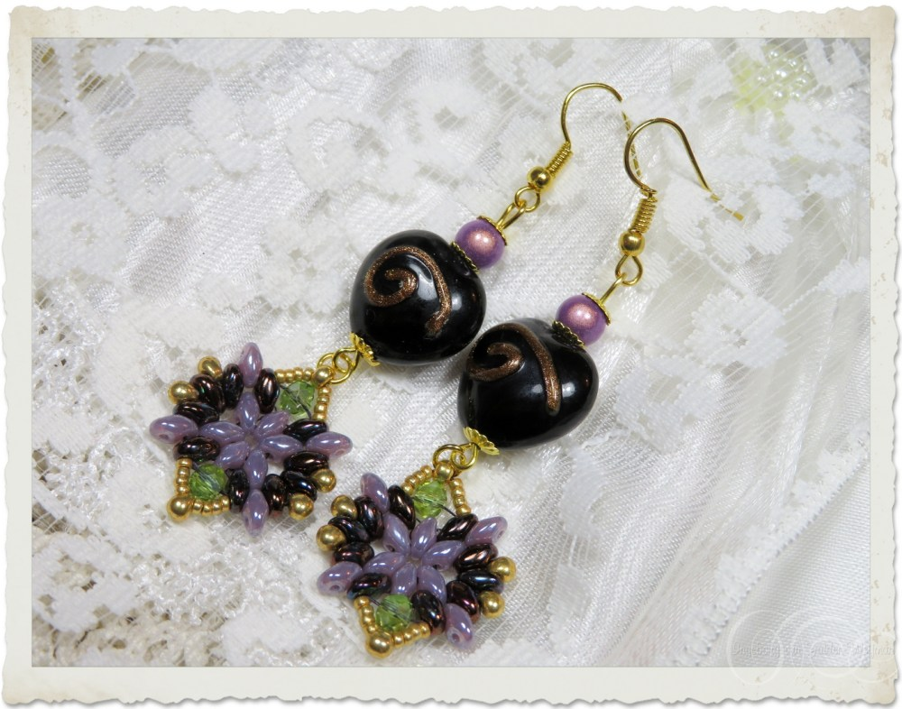 Handmade black purple gold earrings with beads from India