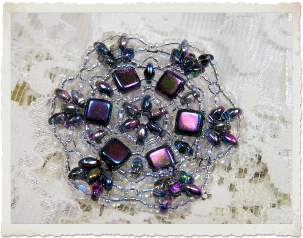 Beaded ornament with superduo and tila beads
