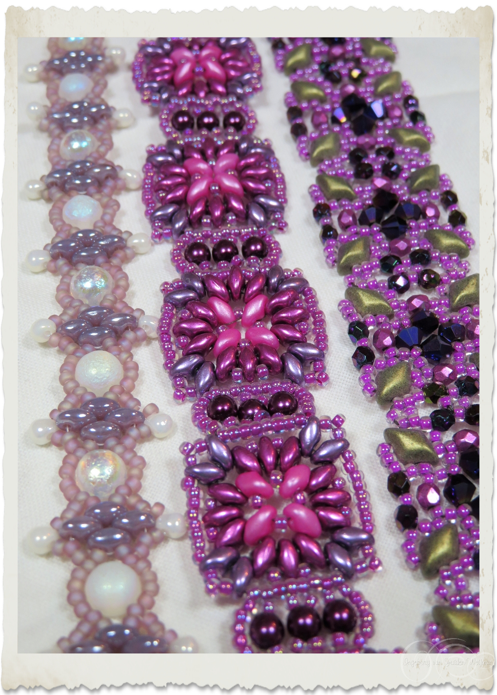 Handmade superduo bracelets in pink lilac and purple