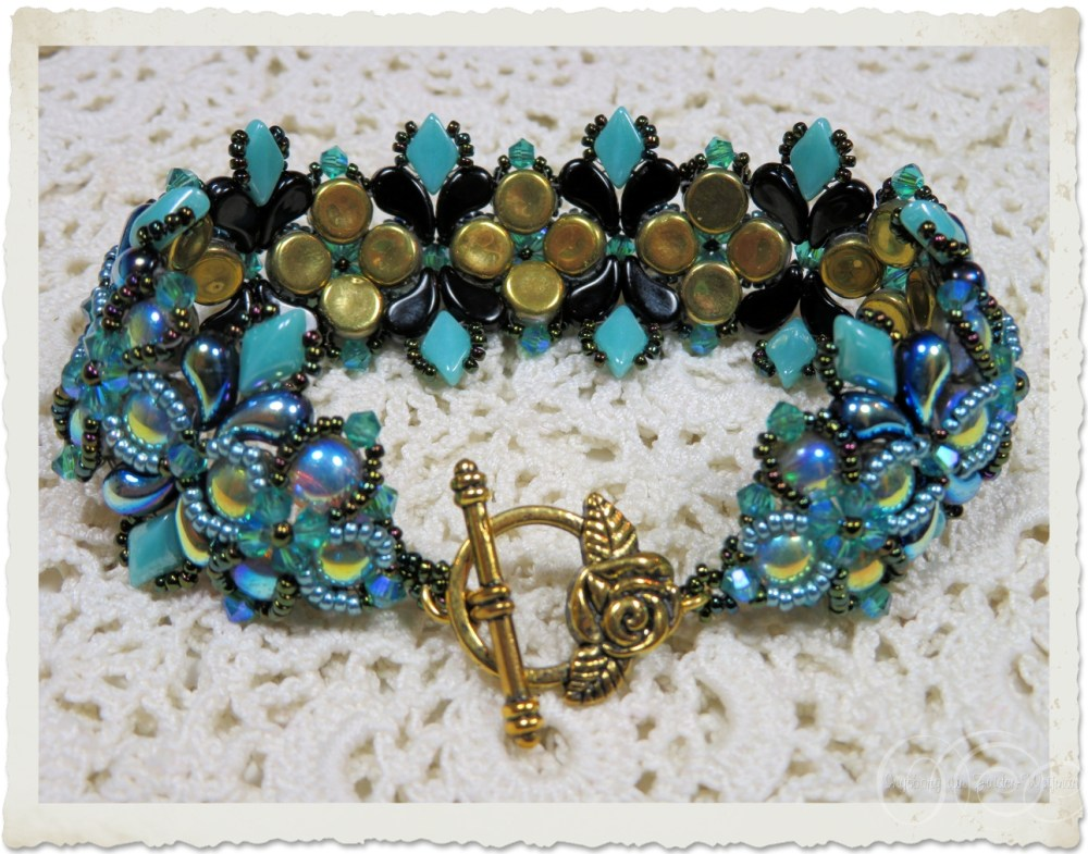 Handmade bracelet with gemduo and 2-hole cabochon beads