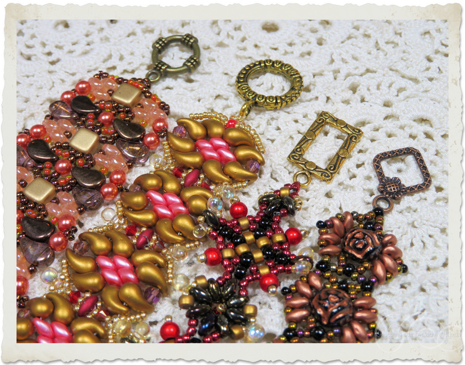 Toggle clasps on bead weaving bracelets in fall colors