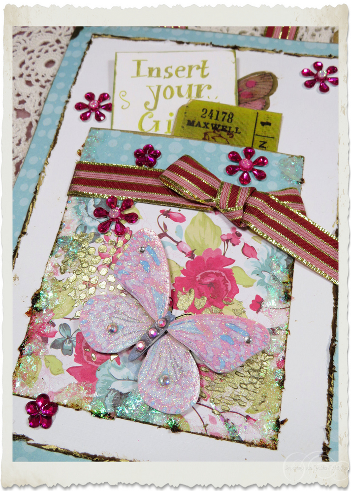 Details of inside pocket of handmade Regency style card with tickets and flowers