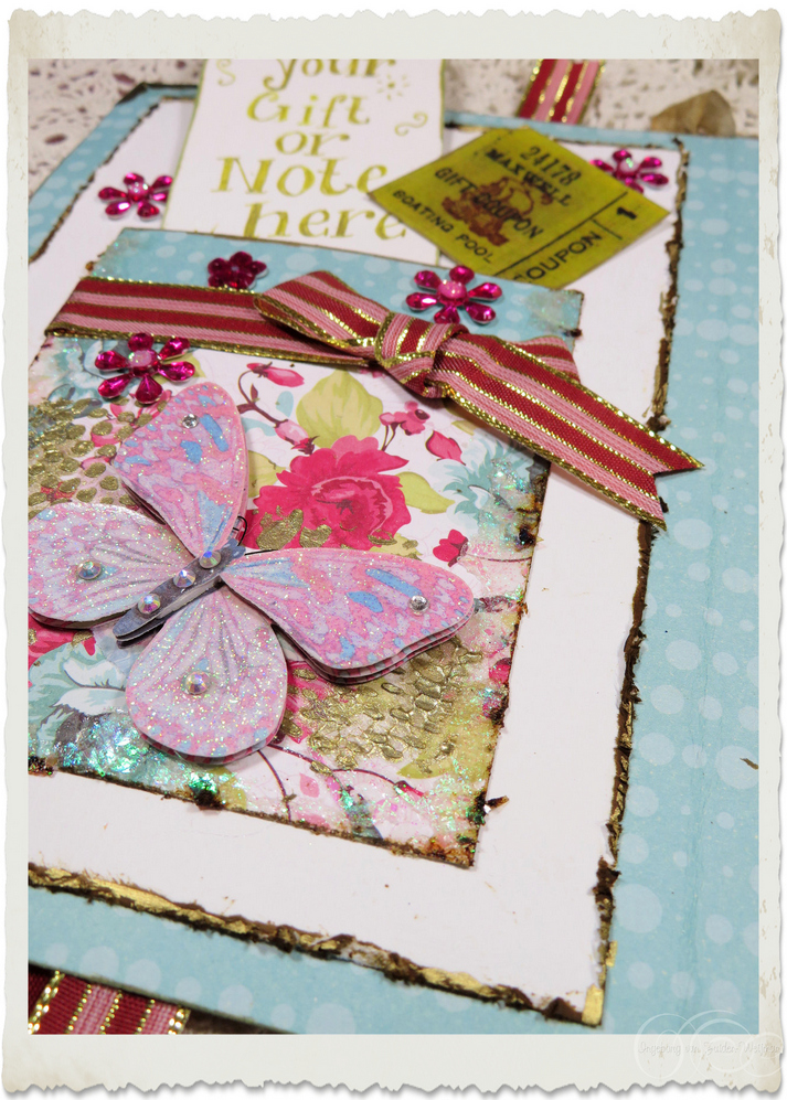 Details of pocket with ribbon and 3d butterfly