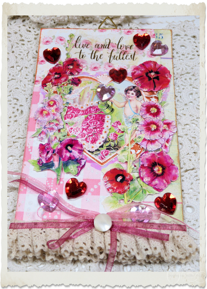 Handmade angel notecard hanger with pretty pink and red Hollyhock flowers