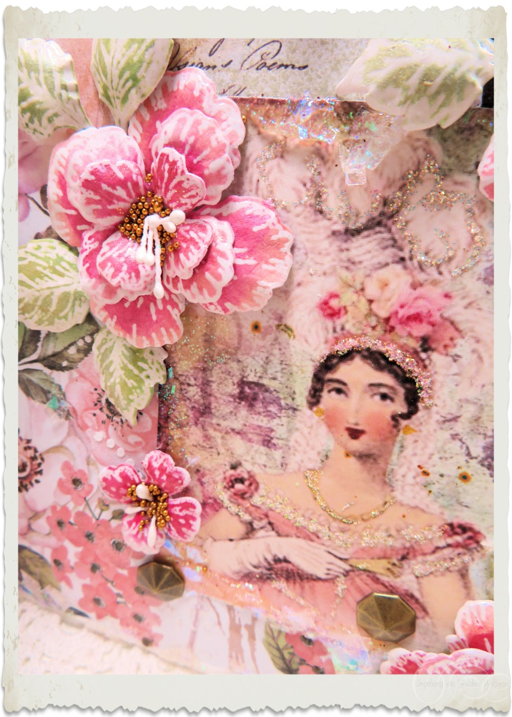 Oakberry Lane Regency Lady details of mixed media card