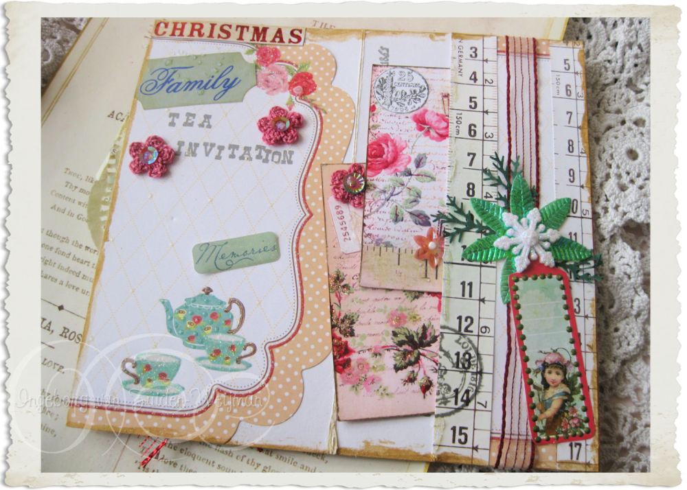 Inside of Marie's Christmas tea invitation