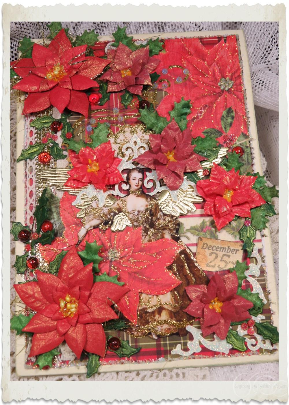 Handmade Christmas card with poinsettia by Ingeborg van Zuiden