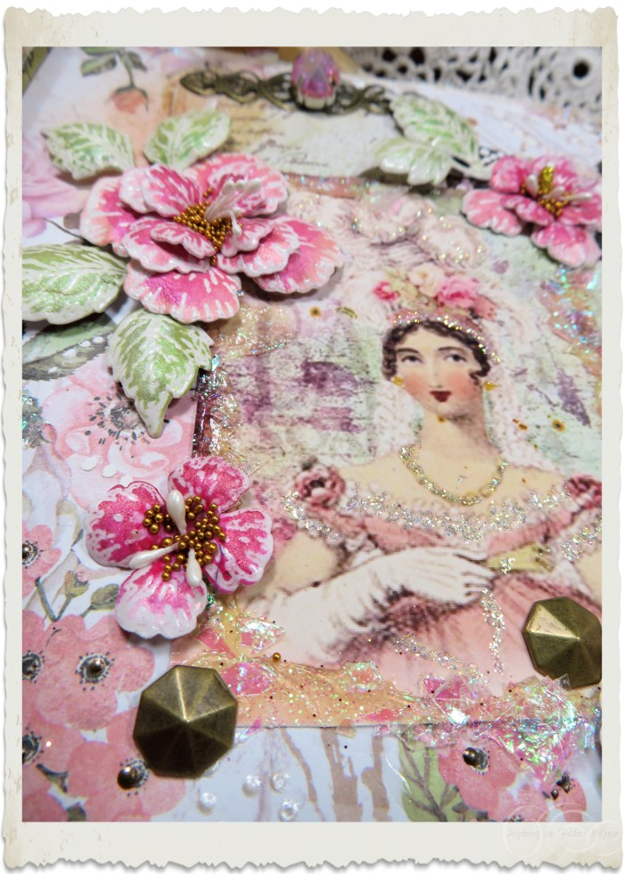 Details of pink flowers on handmade card