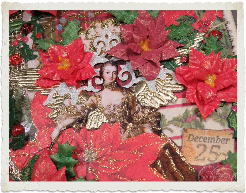 Details of handmade Poinsettia flowers from Heartfelt Creations dies and stamps by Ingeborg van Zuiden