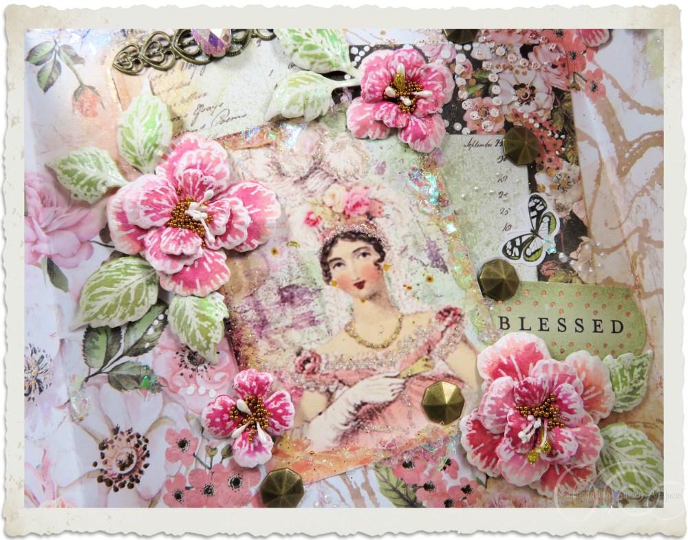 Details of inside of handmade card with Oakberry Lane flowers by Ingeborg van Zuiden