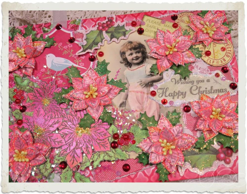 Handmade vintage style Poinsettia Christmas card by Ingeborg van Zuiden