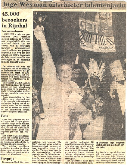 Newspaper article of my victory in the Rijnhal Fair talent show Arnhem
