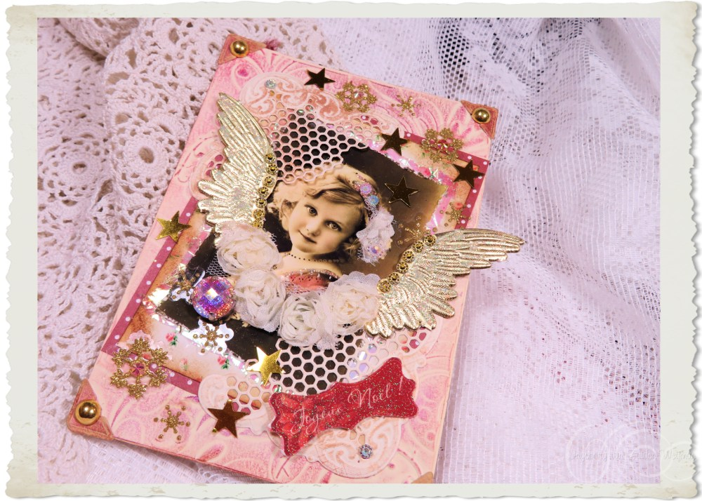 Another view of handmade Christmas card with vintage angel