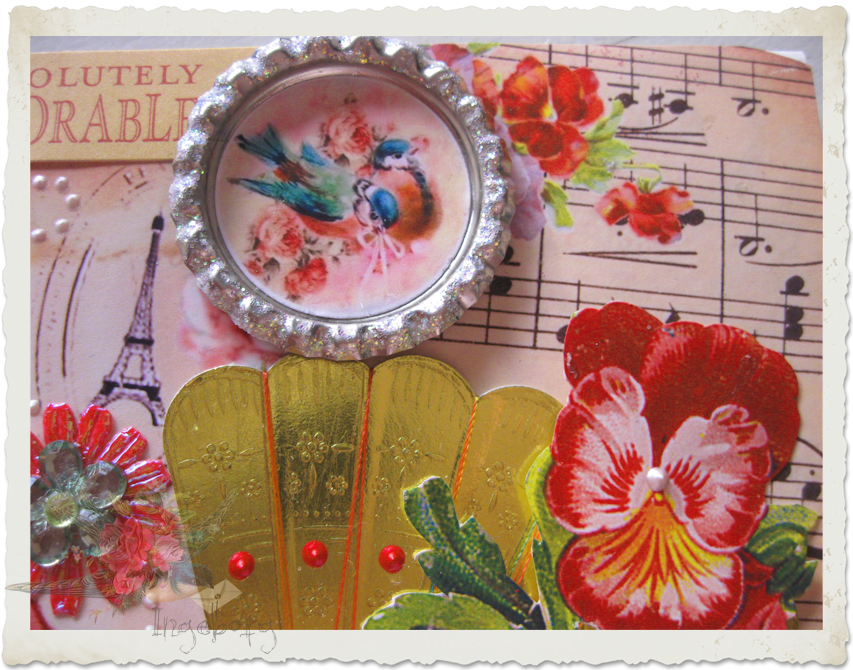 Floral details on handmade card with bottlecap