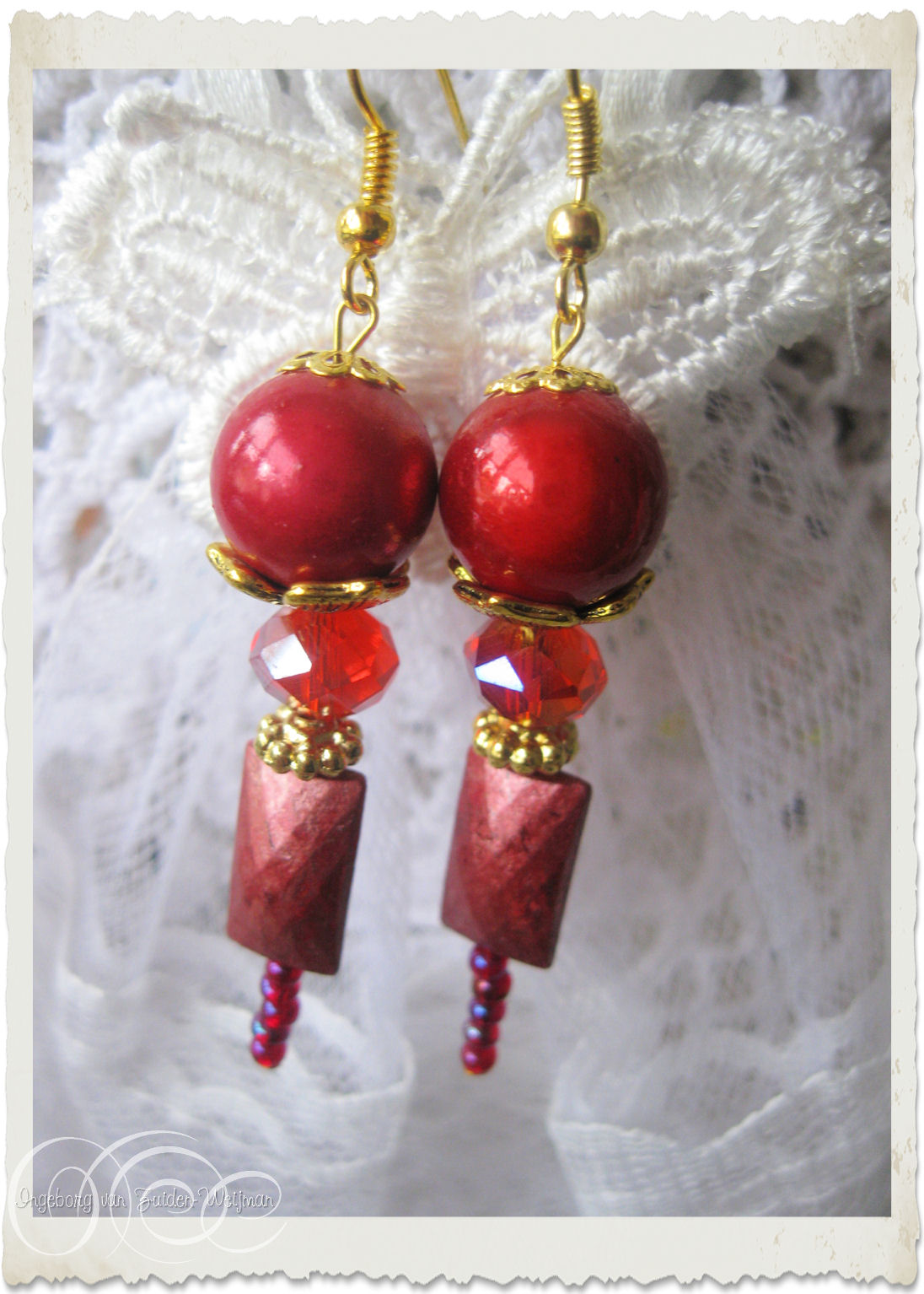 Red miracle earrings