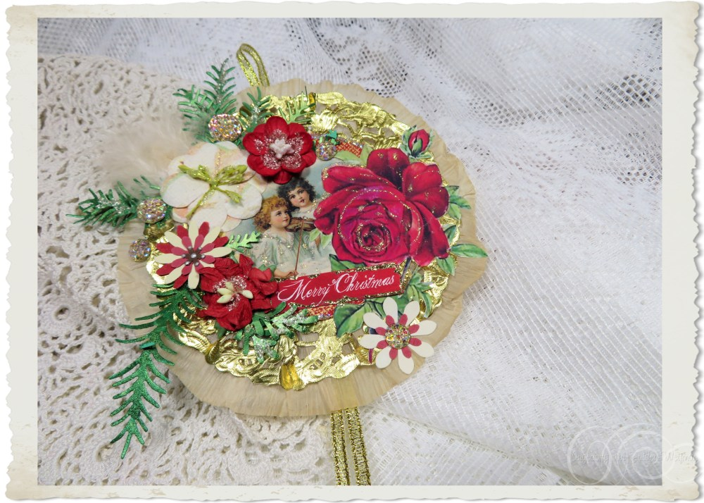 Handmade Floral tree hanger with vintage angel