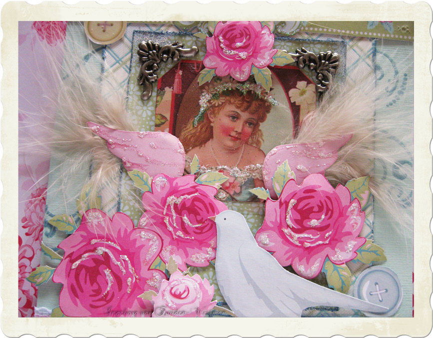 Details of vintage angel on roses card