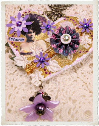 Handmade mixed media purple dreamer heart