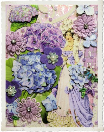 Blue purple flowers on Regency card