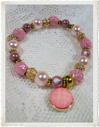 Pink pearl miracle bracelet on elastic