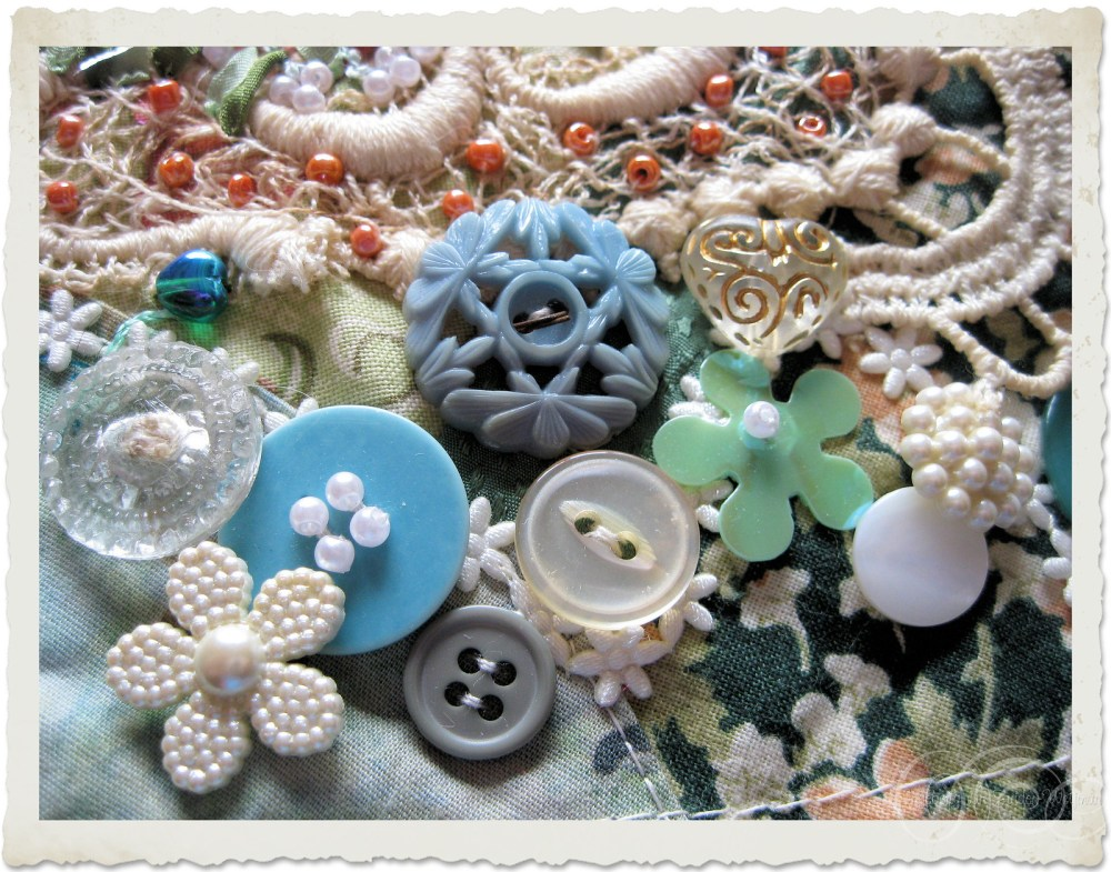 Group of embellished buttons and beads