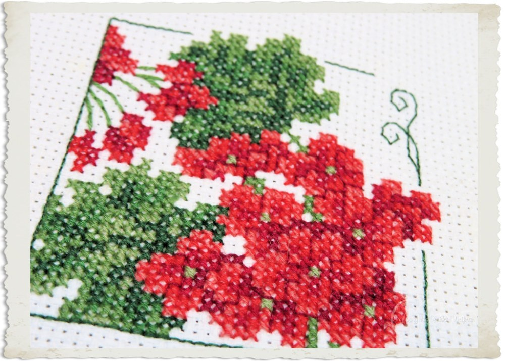 Geranium in cross-stitch by Ingeborg van Zuiden