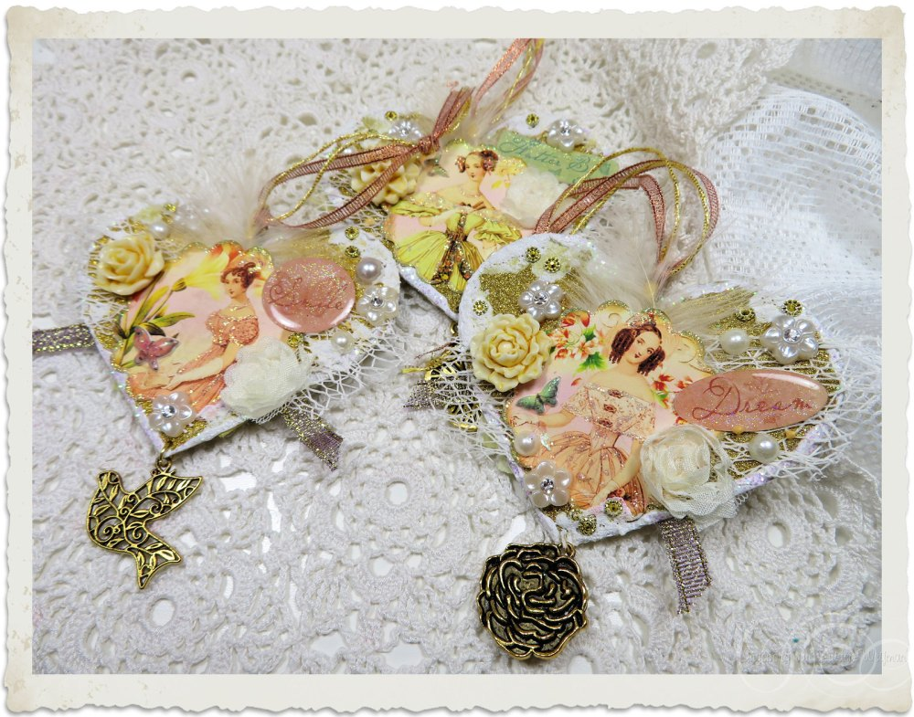 The power of 3 handmade heart hangers by Ingeborg van Zuiden - My Fairy Beautiful World