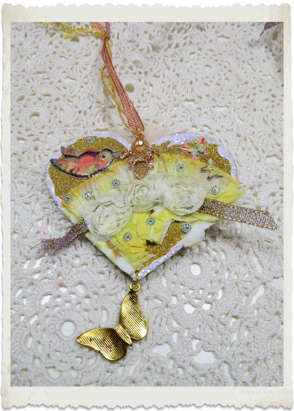 Handmade mixed media heart hanger backside