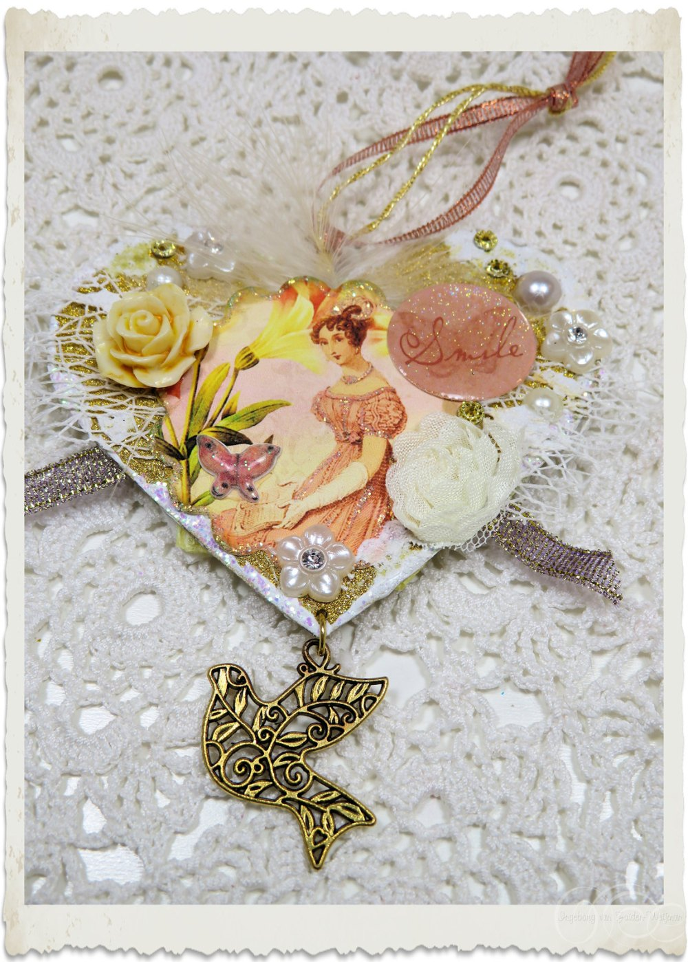 Pretty Regency lady on my handmade mixed media heart