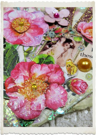 Pink rose bling details of mixed media art hanger by Ingeborg van Zuiden