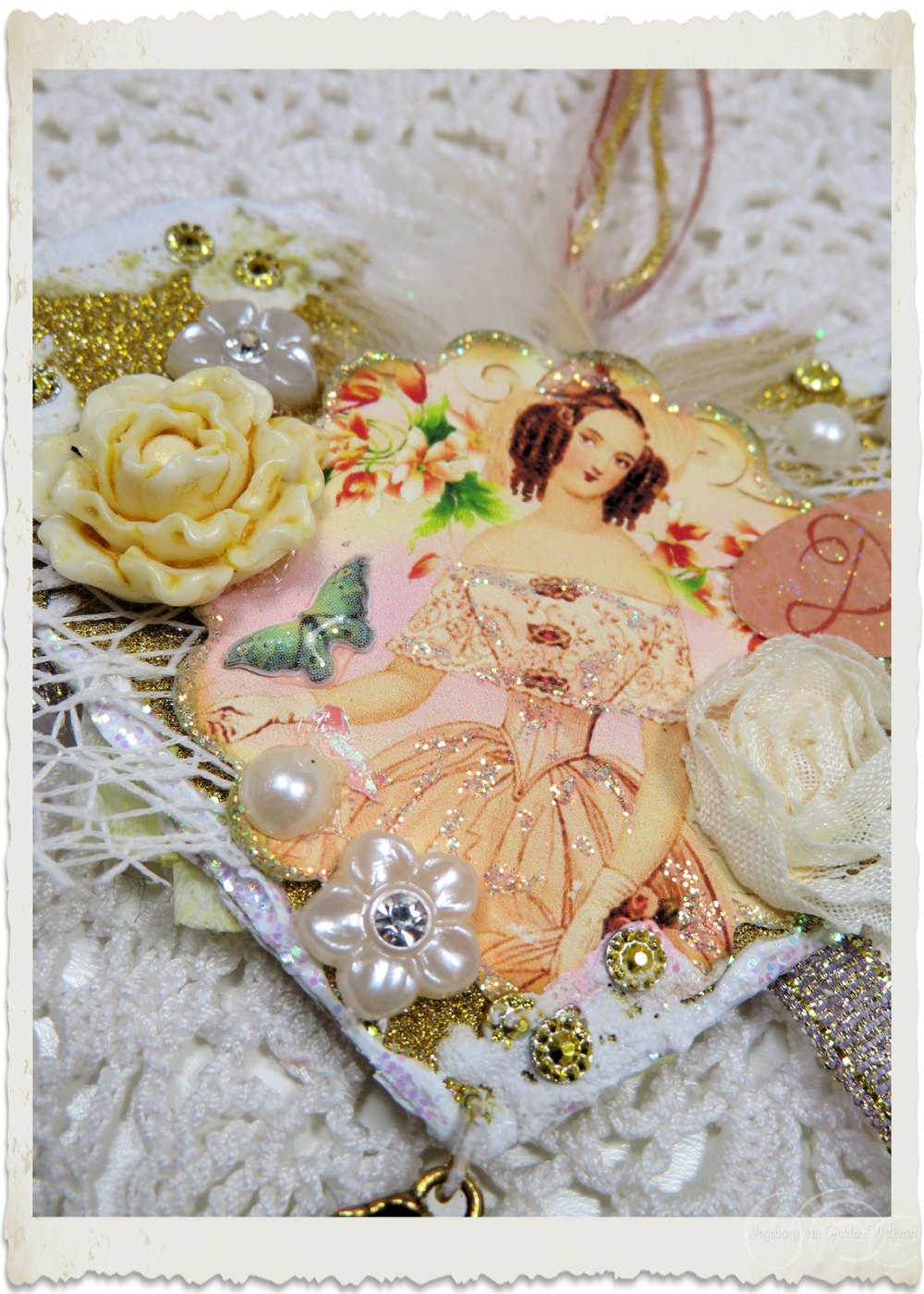 Flowers and bling bling details on Regency style mixed media project by Ingeborg van Zuiden