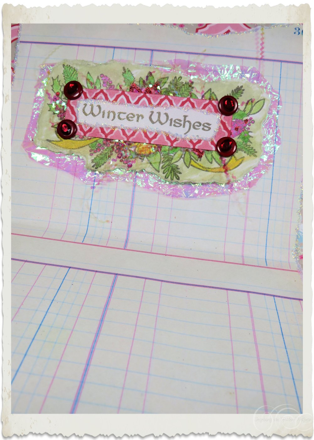 Details of inside wordart on handmade Christmas card