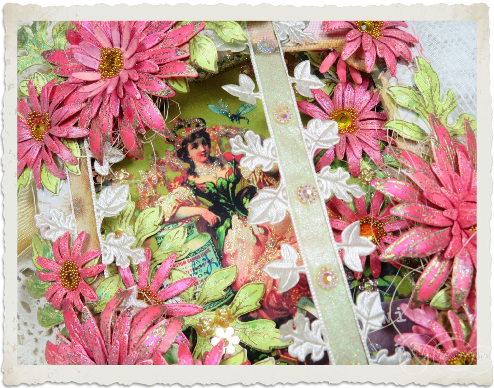 See through the front of handmade fairy card with Heartfelt Creations Wild Asters flowers by Ingeborg van Zuiden