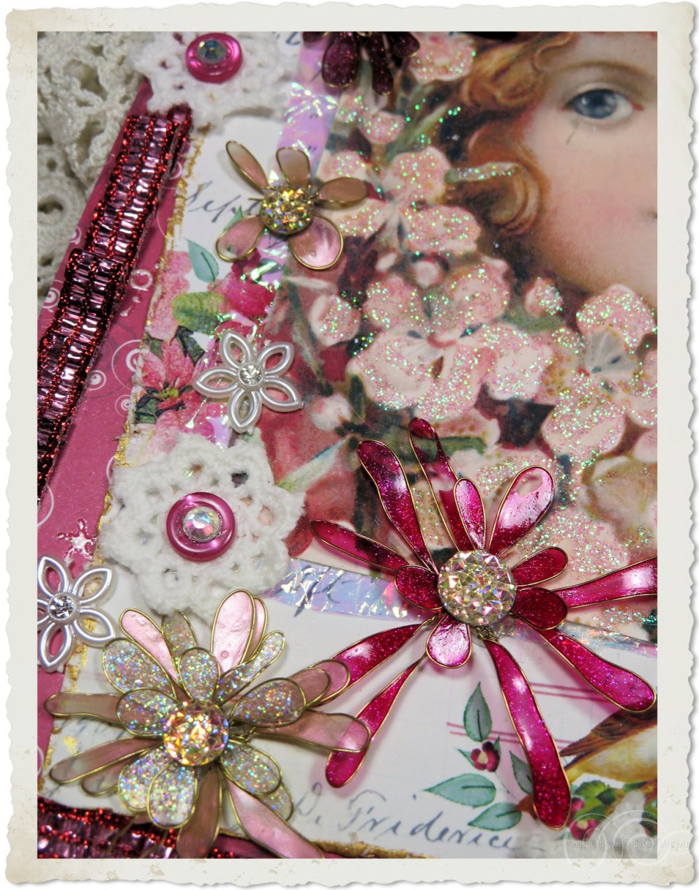 Handmade wired flowers with bling bling