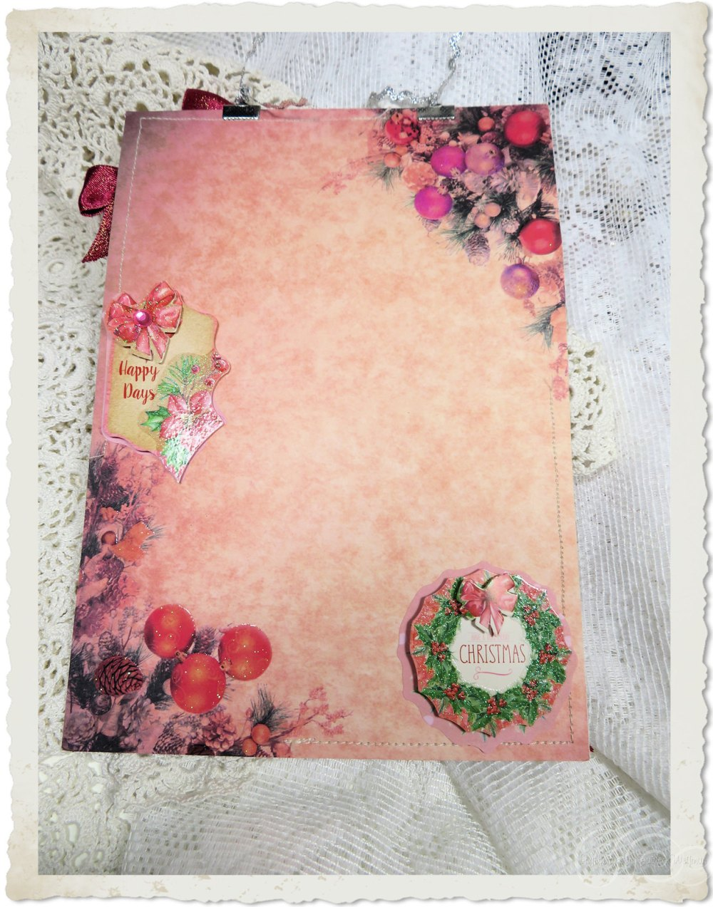 Backside of Christmas notecard hanger