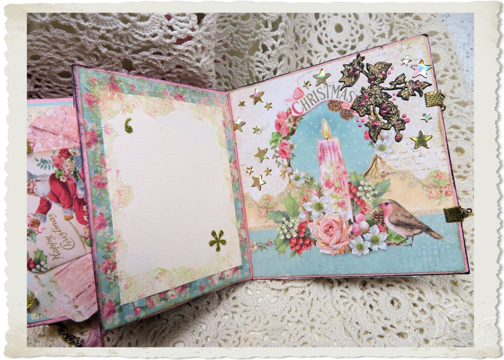 Details of pages inside handmade Christmas book with pastel flowers, birds and wishes