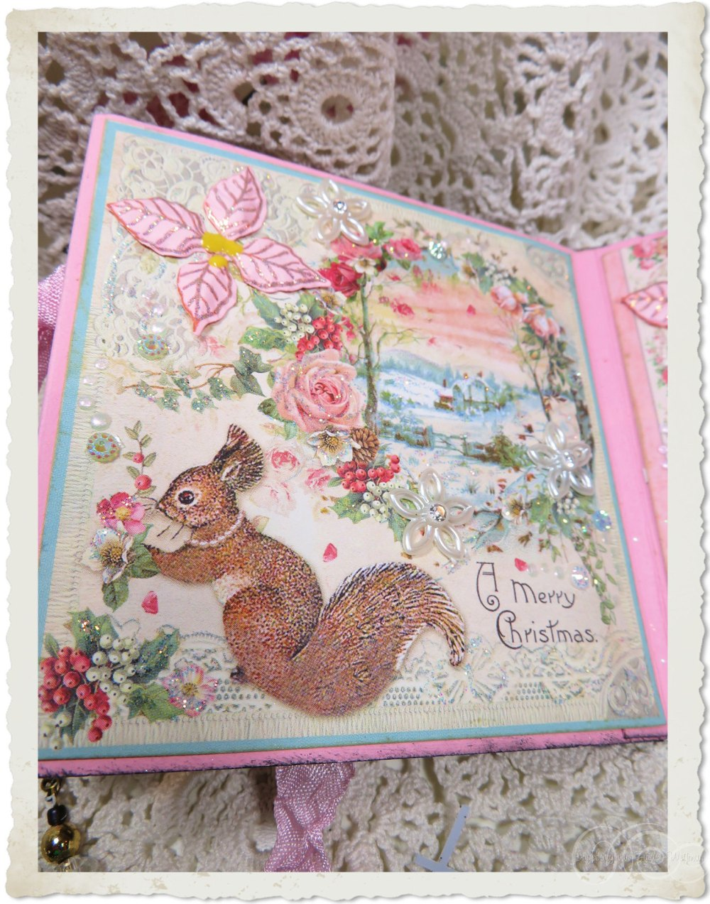 Pastel flowers and Christmas squirrel