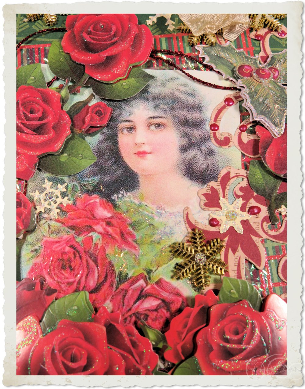 Vintage Christmas girl with red roses and snowflakes by Ingeborg van Zuiden