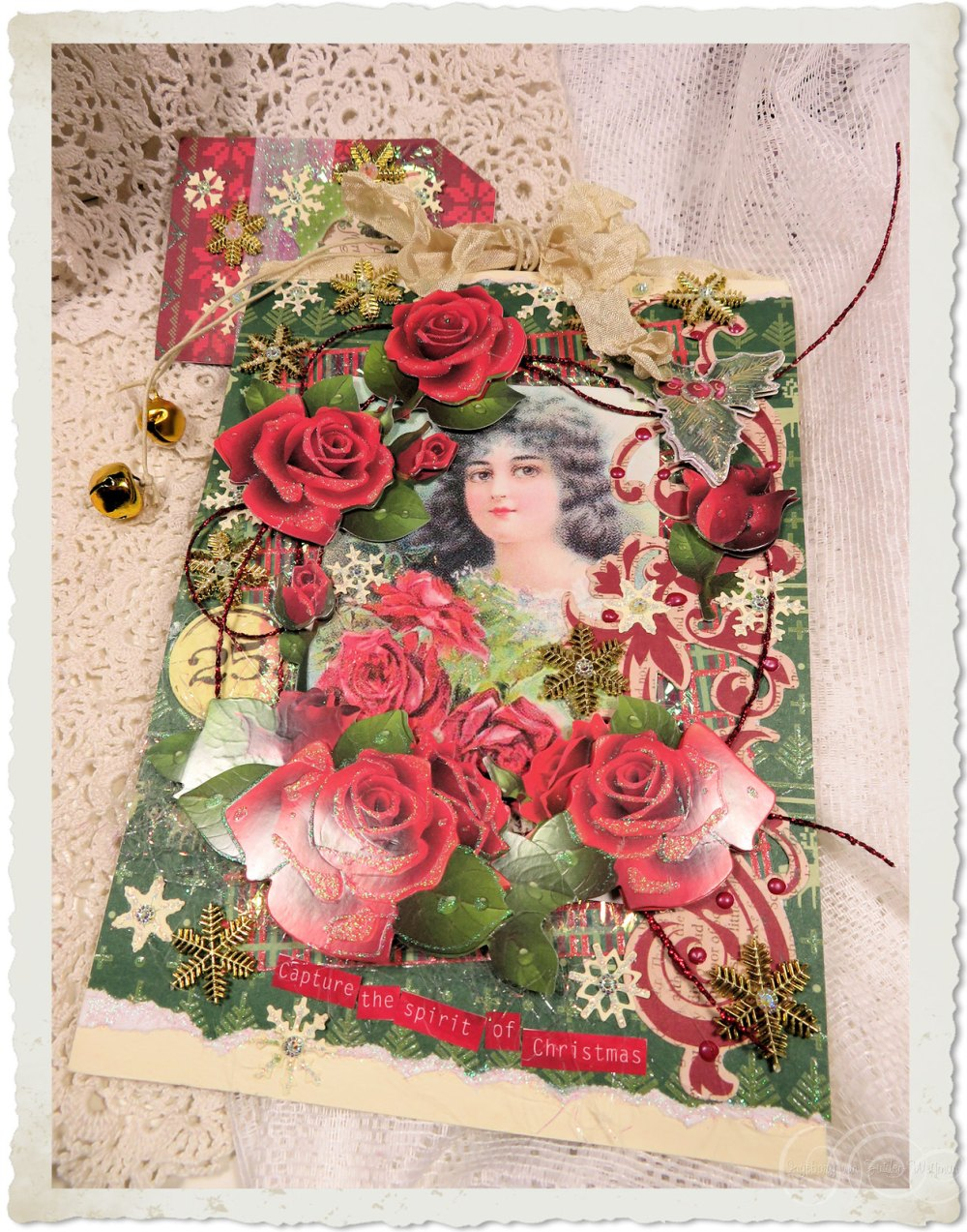 Handmade red roses Christmas card with vintage girl by Ingeborg van Zuiden