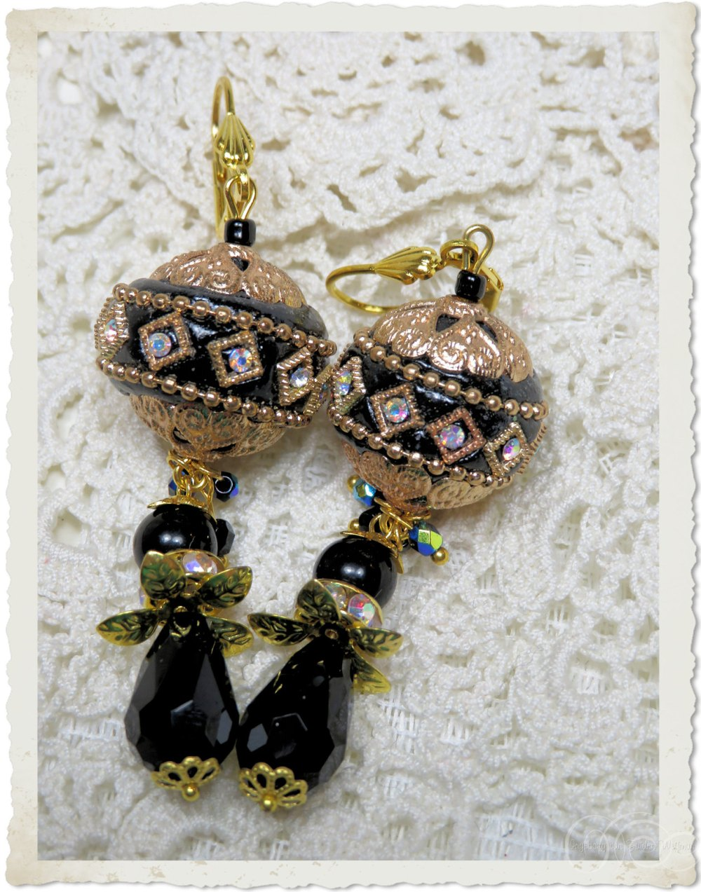 Earrings with handmade beads and strass