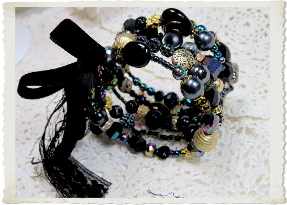 ribbons lace and beads on memory wire bracelet