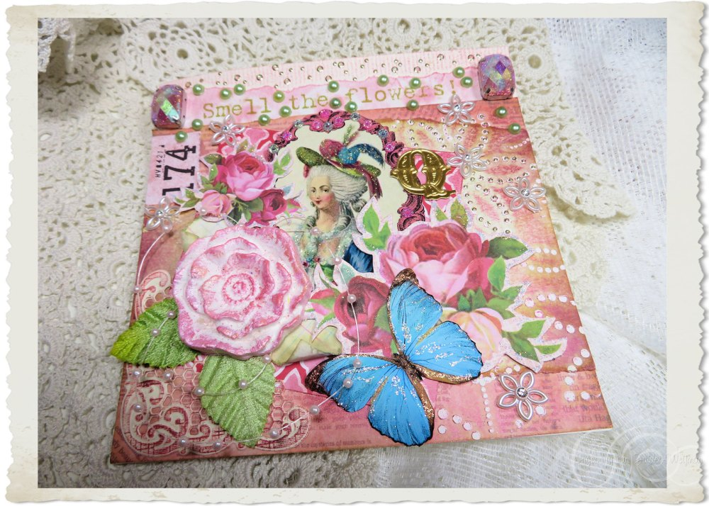 Handmade pink floral Marie-Antoinette card with clay rose and letter Q by Ingeborg van Zuiden