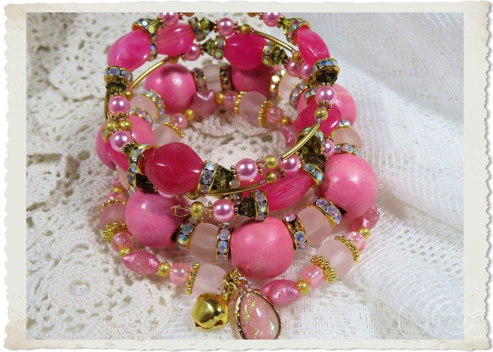 3 handmade pink bling bracelets by Ingeborg van Zuiden