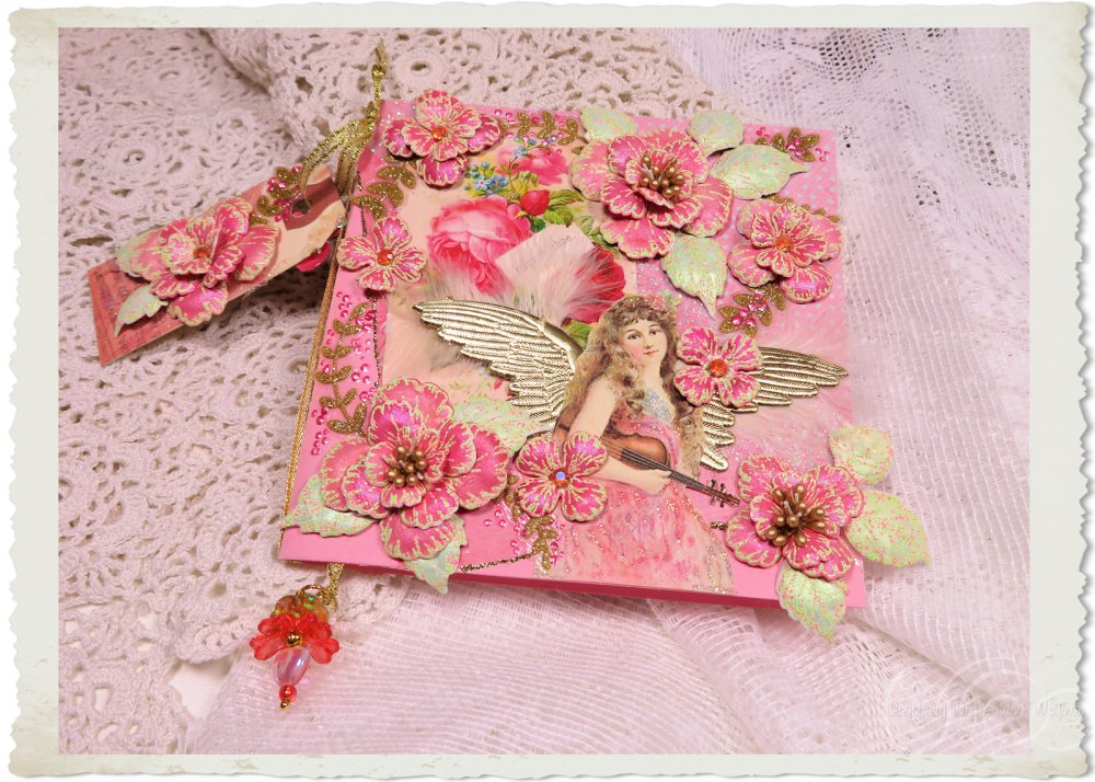 Handmade angel card by Ingeborg van Zuiden with pink flowers