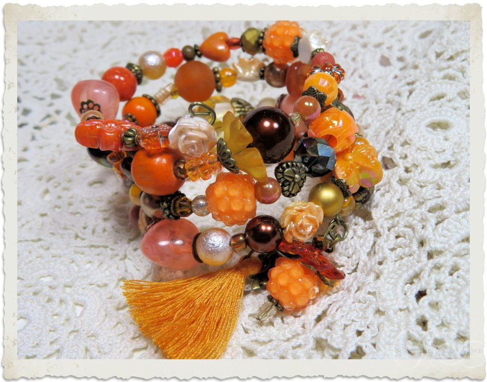 Brown orange peach beads