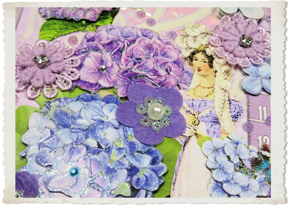 3d Hydreangea flowers in blue and purple