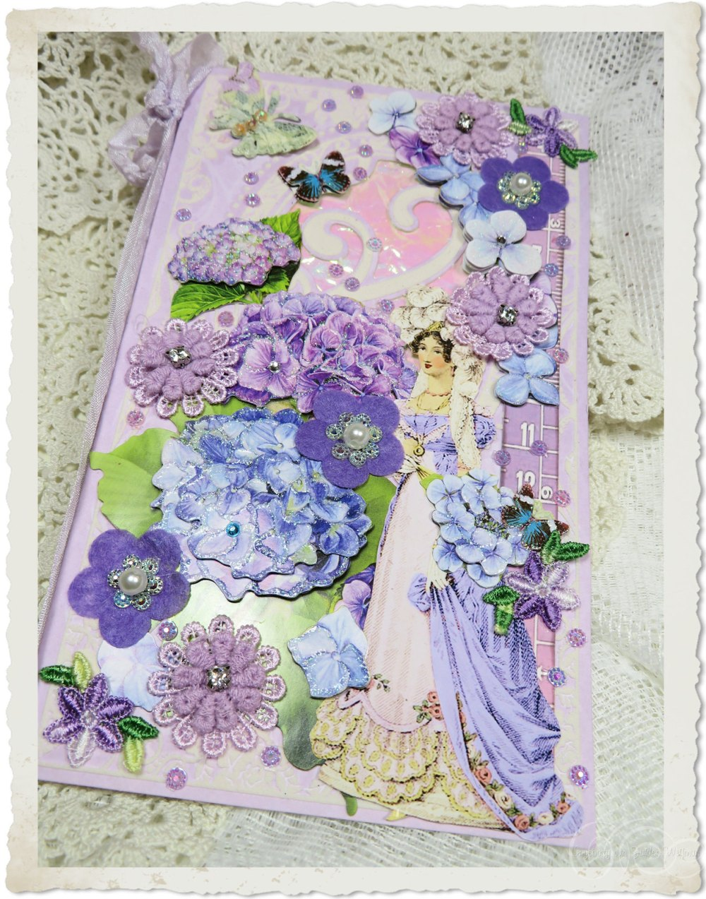 Regency style greeting card with fabric flower appliques