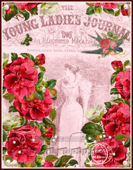 Free digital collage sheet Young ladies journal cover by Ingeborg
