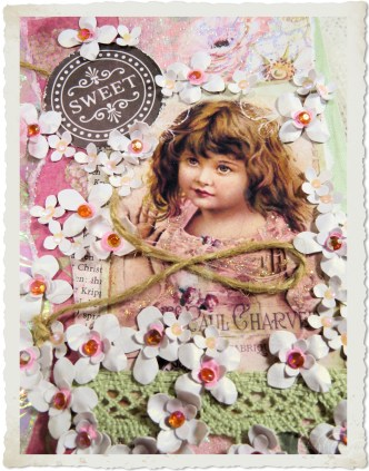 Handmade vintage style floral greeting card with sweet little girl by Ingeborg van Zuiden