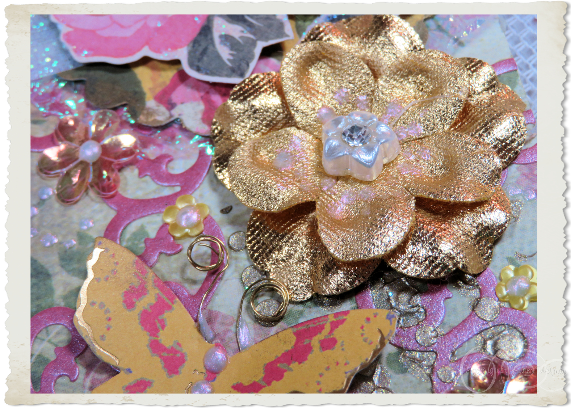 Gold fabric flower